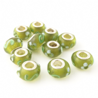 4 LAMPWORK 13X8MM GLASS BEADS 5mm HOLE GREEN